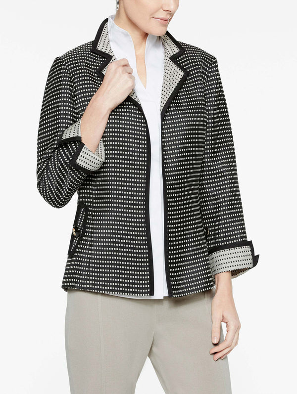 Contrast Cuff and Collar Woven Jacket Color Black/Almond Beige