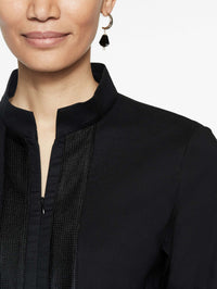 Linen Zip-Up Tunic Color Black