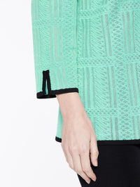 Soundwave Textured Jacket Color Laguna Green Premium Detail