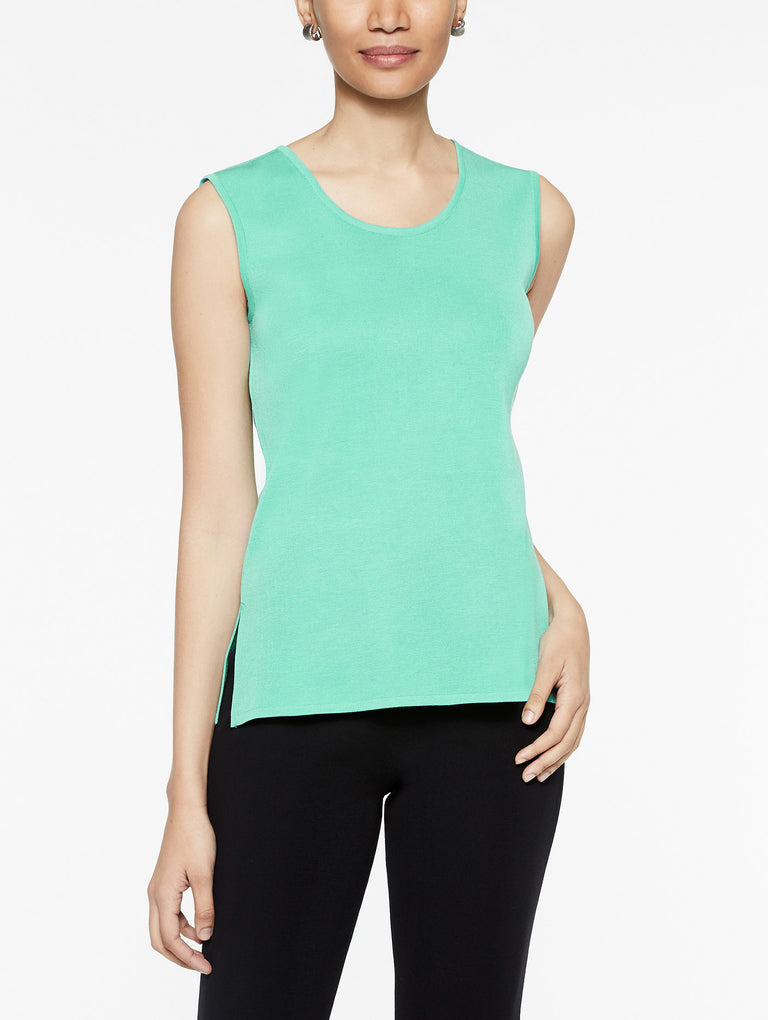 Classic Knit Scoop Neck Tank Top Color Laguna Green