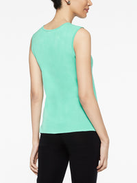 Classic Knit Scoop Neck Tank Top Color Laguna Green Premium Detail