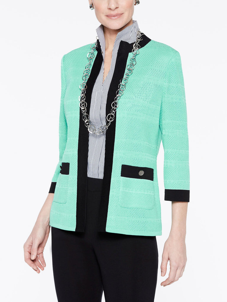 Textured Jacket with Black Frame Color Laguna Green/Black