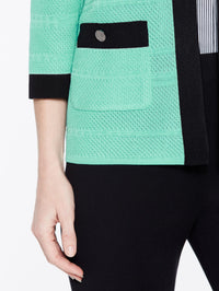 Textured Jacket with Black Frame Color Laguna Green/Black Premium Detail