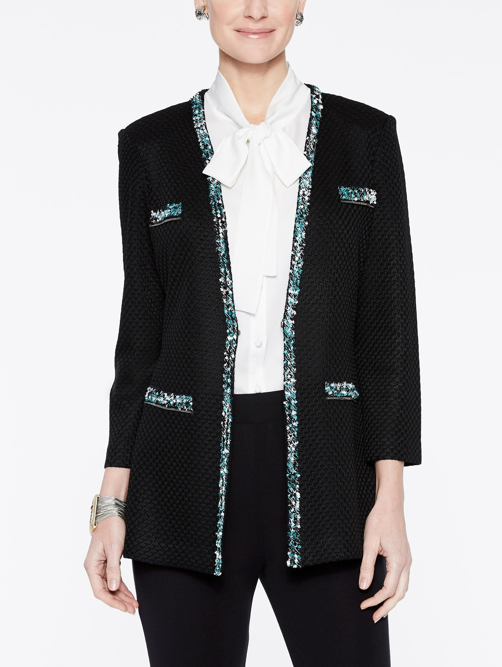 Multicolored Clipped Fringe Trim Jacket Color Black/Laguna Green/Ivory
