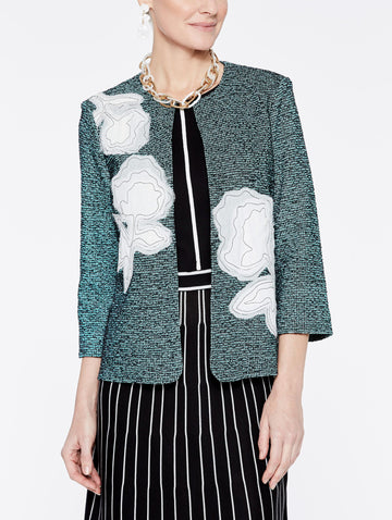 Tweed and Floral Applique Jacket