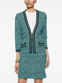Abstract Jacquard Jacket with Chain Trim Color Laguna Green/Black/Ivory