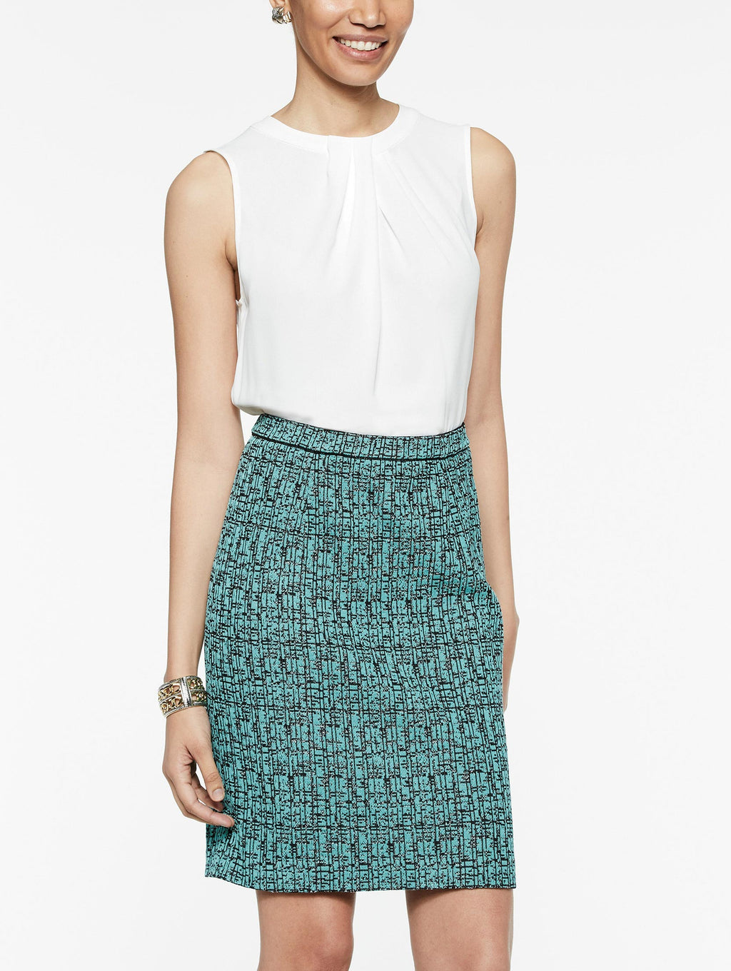 Crepe de Chine and Abstract Jacquard Sheath Dress