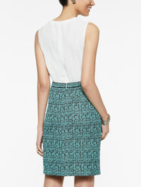 Crepe de Chine and Abstract Jacquard Sheath Dress Color Laguna Green/Black/Ivory Premium Detail