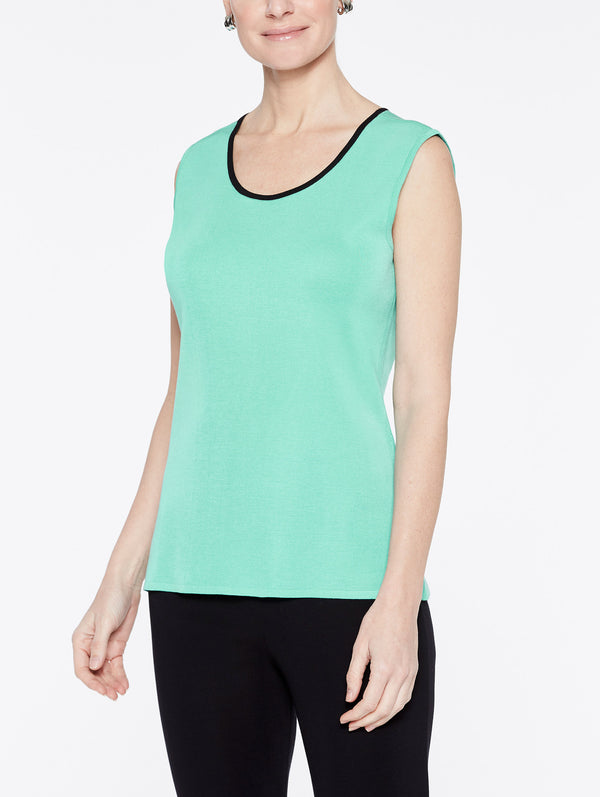 Classic Knit Scoop Neck Tank Top with Black Trim Color Laguna Green/Black