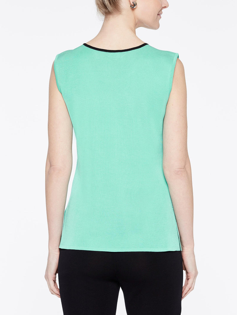 Laguna Green Classic Knit Scoop Neck Tank Top with Black Trim