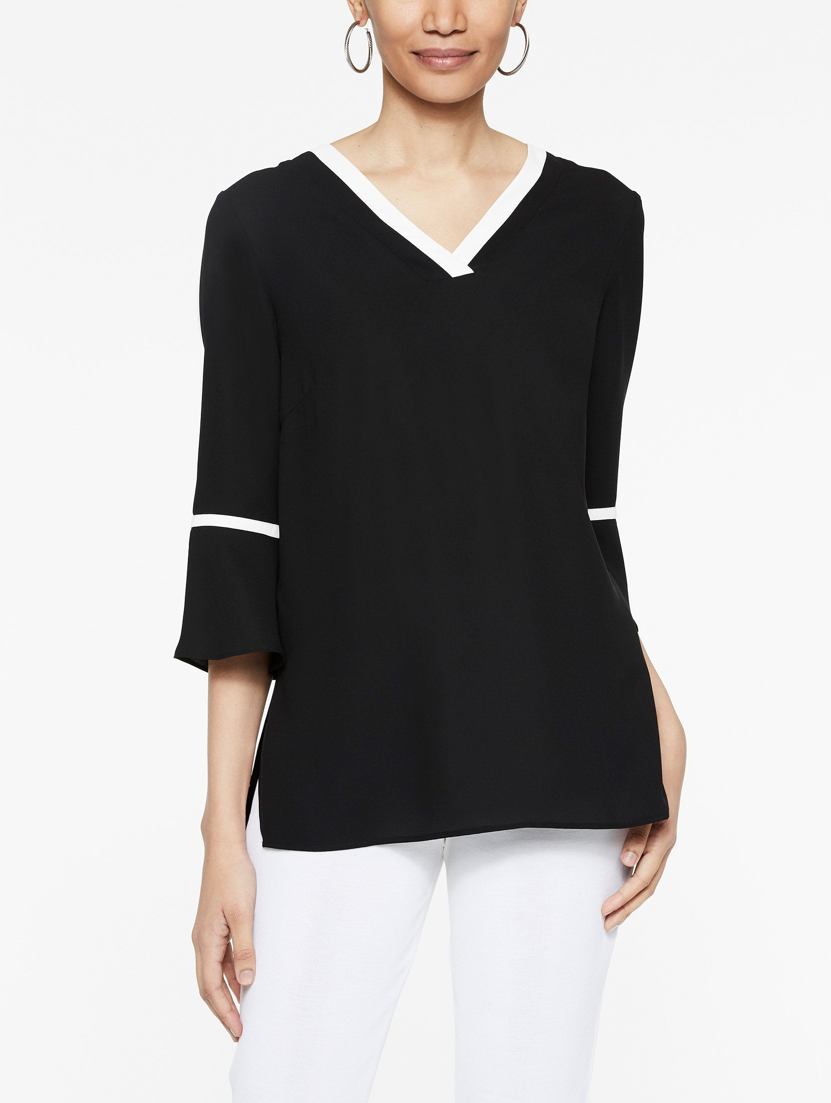 Crepe de Chine Bell Sleeve Tunic Color Black/Ivory