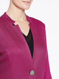 Basketweave Pattern Jacket Color Fuchsia Rose Premium Detail