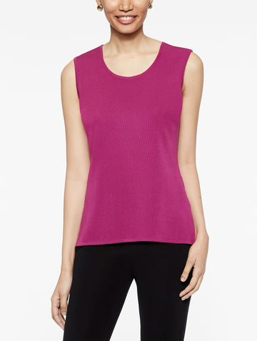 Fuchsia Rose Classic Knit Scoop Neck Tank Top
