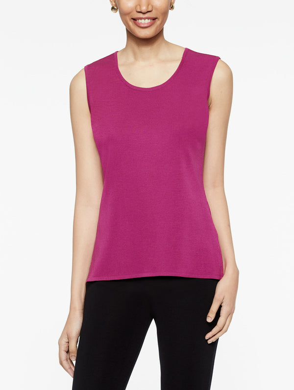 Classic Knit Scoop Neck Tank Top Color Fuchsia Rose