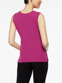 Classic Knit Scoop Neck Tank Top Color Fuchsia Rose Premium Detail