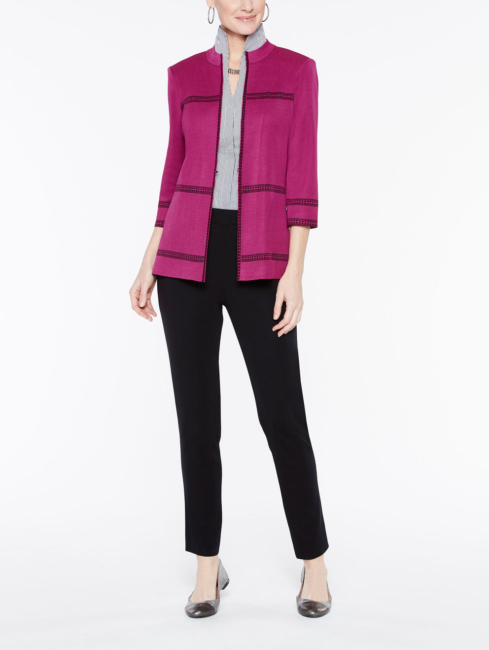 Mandarin Collar with Line Detail Jacket Color Fuchsia Rose/Black