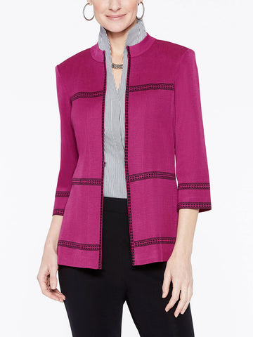 Plus Size Mandarin Collar with Line Detail Jacket