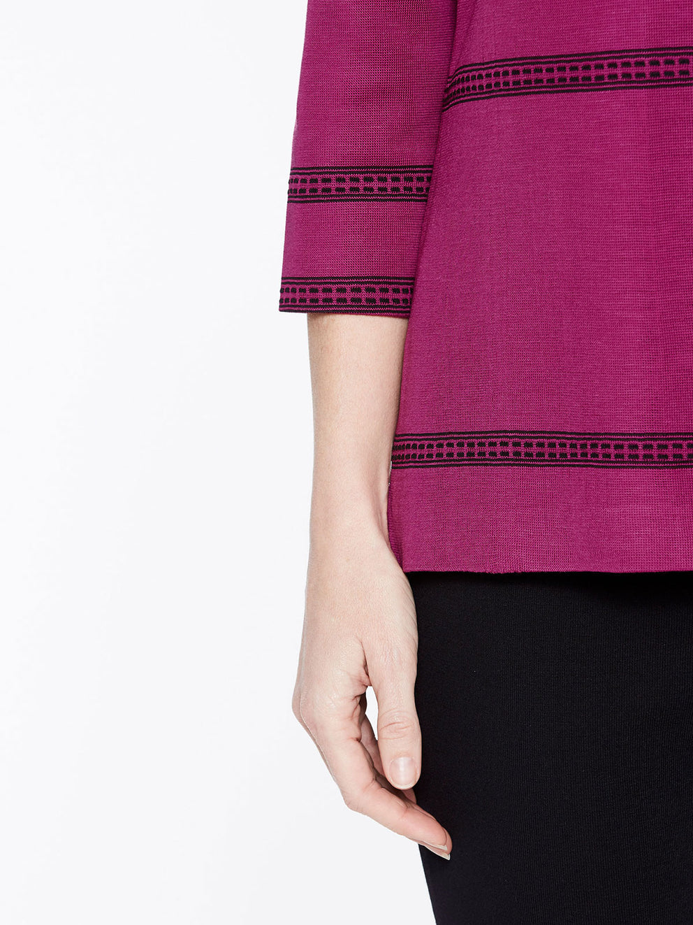 Mandarin Collar with Line Detail Jacket Color Fuchsia Rose/Black Premium Detail