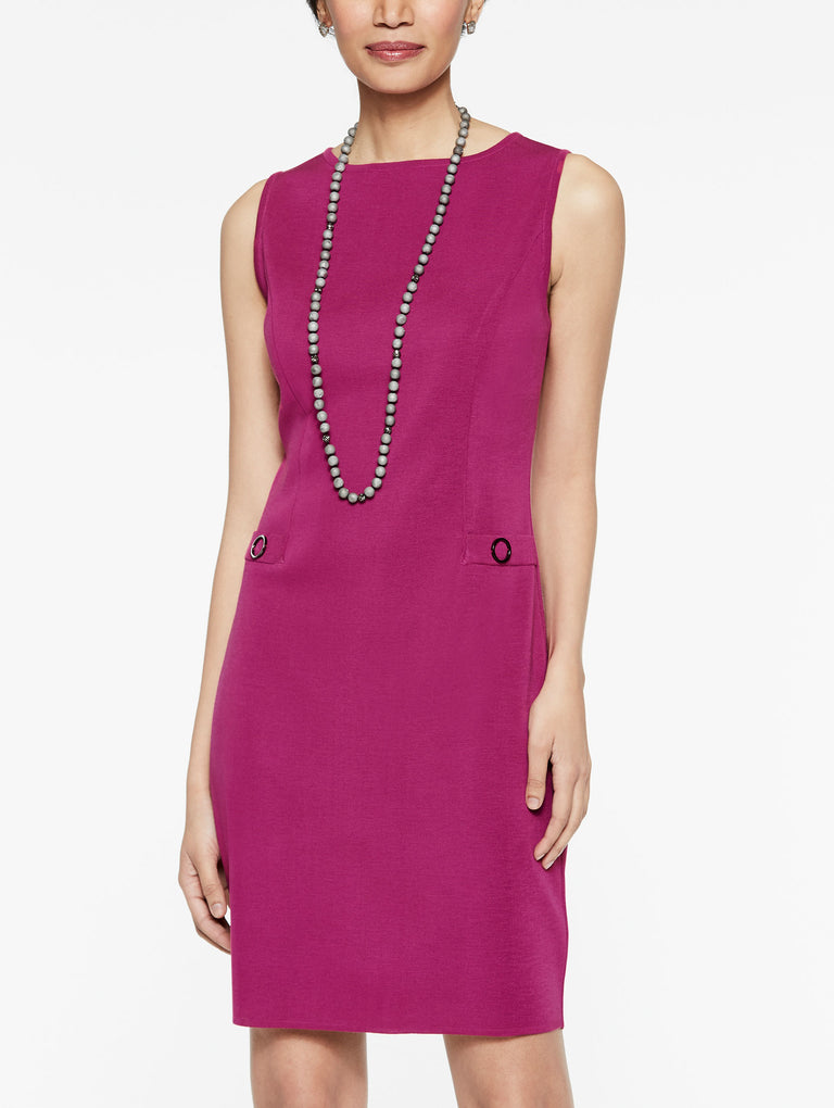 Waist Detail Sheath Dress Color Fuchsia Rose