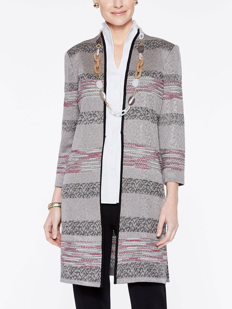 Intarsia Knit Pattern Duster Jacket Color Fuchsia Rose/Mink Grey/Black/Ivory