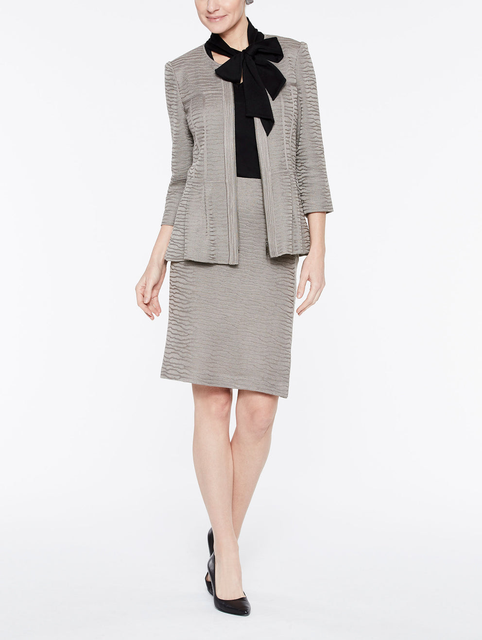 Textured Wavy Pattern Peplum Jacket Color Mink Grey