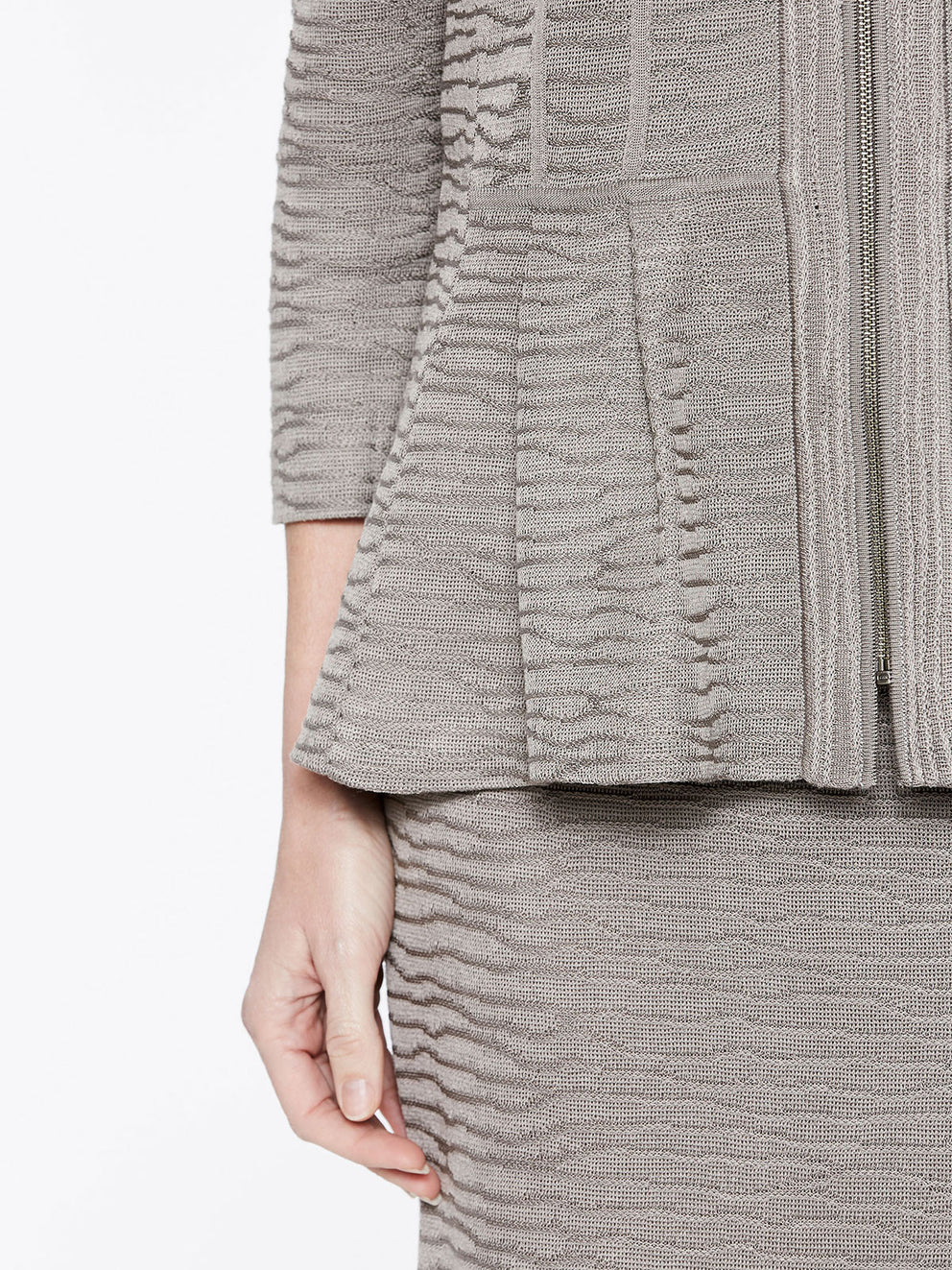 Textured Wavy Pattern Peplum Jacket Color Mink Grey Premium Detail