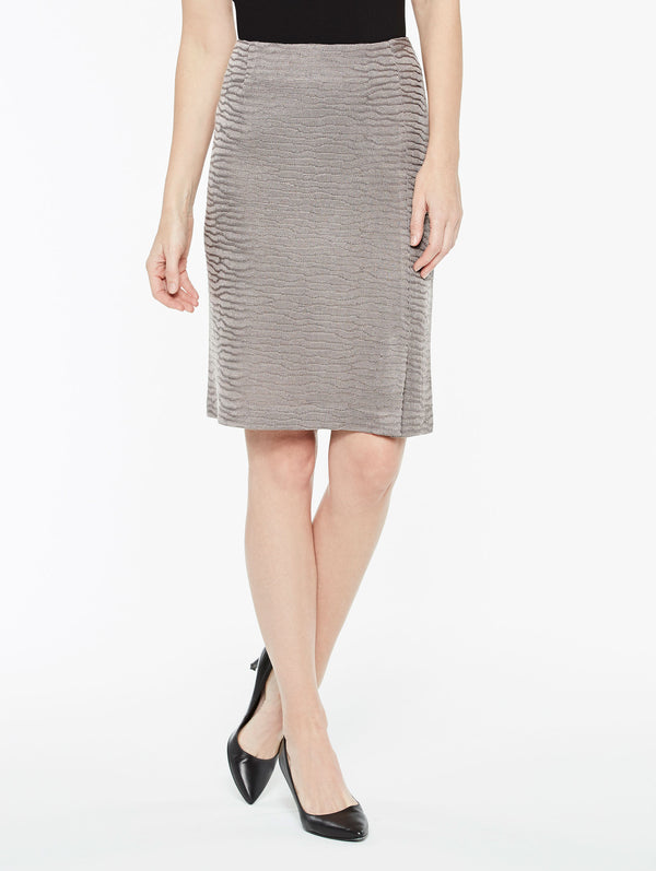 Textured Wavy Pattern Skirt Color Mink Grey