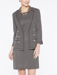 Birdseye Knit Double Button Jacket Color Mink Grey/Black