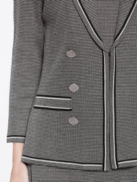 Birdseye Knit Double Button Jacket Color Mink Grey/Black Premium Detail