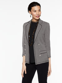 Birdseye Double Button Jacket Color Mink Grey/Black