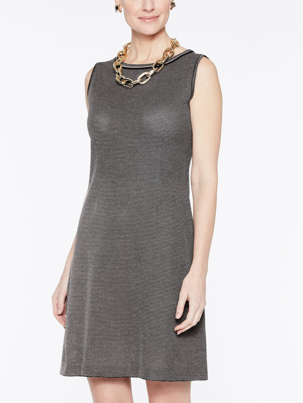 Birdseye Knit Sheath Dress Color Mink Grey/Black