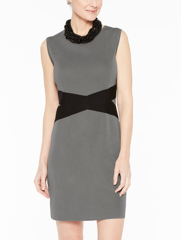 Contrast Twist Waist Sheath Dress