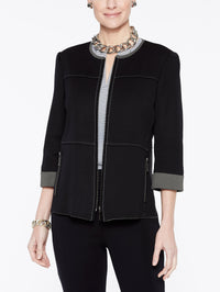 Double Knit Zip-Up Jacket Color Black/Mink Grey