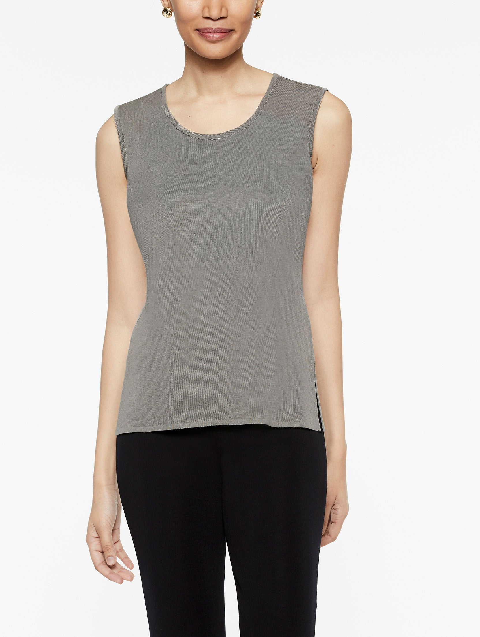 Classic Knit Scoop Neck Tank Top Color Mink Grey
