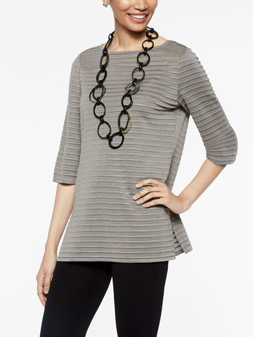 Mink Grey Ribbed Tunic