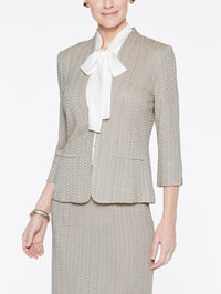 Basketweave Textured Jacket Color Almond Beige