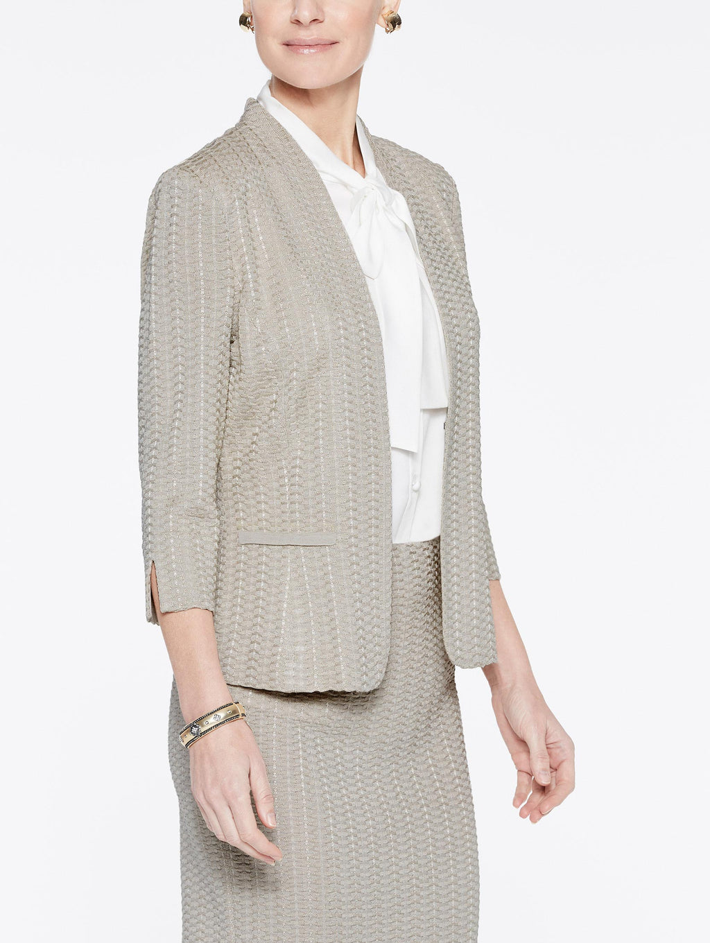 Beige Basketweave Textured Jacket