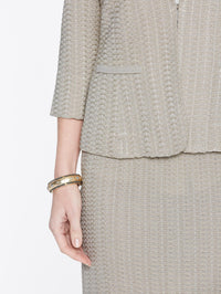 Basketweave Textured Jacket Color Almond Beige Premium Detail