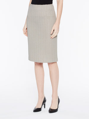 Beige Basketweave Textured Skirt