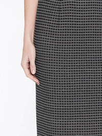 Tonal Grid Pattern Skirt Color Almond Beige/Black Premium Detail