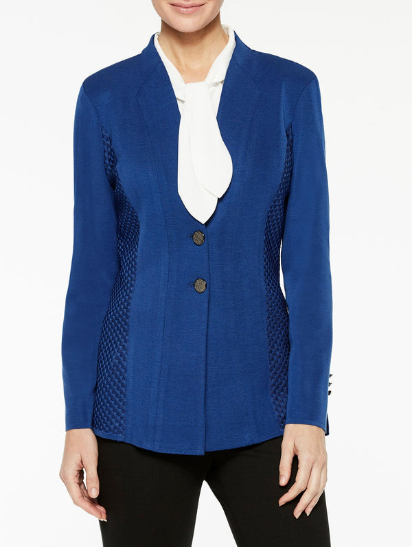 Textured Panel Blazer Color Venetian Blue