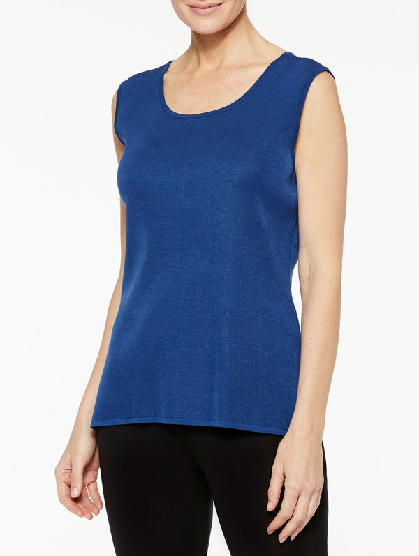 Venetian Blue Classic Knit Scoop Neck Tank Top Color Venetian Blue