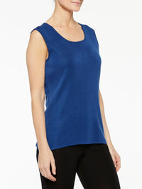Venetian Blue Classic Knit Scoop Neck Tank Top Color Venetian Blue Premium Detail