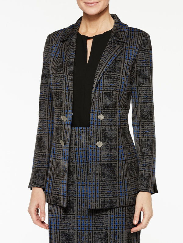 Plaid Jacquard Double Button Jacket Color Venetian Blue/Black/Slate