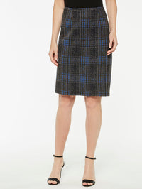 Plaid Jacquard Skirt Color Venetian Blue/Black/Slate