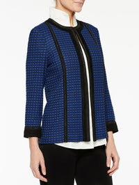 Chain and Faux Suede Trim Jacket Color Venetian Blue/Black