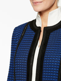 Chain and Faux Suede Trim Jacket Color Venetian Blue/Black Premium Detail