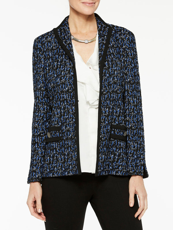 Soft Tweed and Ponte Trim Jacket Color Venetian Blue/Slate/Black