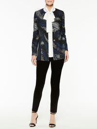 Abstract Pattern with Pinstripe Jacket Color Venetian Blue/Black/Marble
