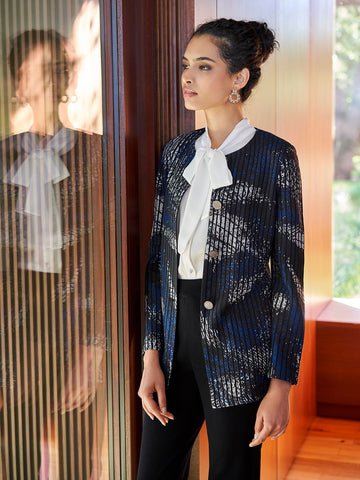 Abstract Pattern with Pinstripe Jacket